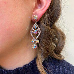 Silver AB Crystal Chandelier Earrings